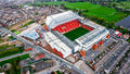 Aerial View Photo of Anfield Stadium in Liverpool. Iconic football ground and home of one of England`s most successful sides, Live Royalty Free Stock Photo
