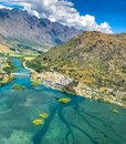 Aerial view, photo, scene, Mountain and river valley near the airport Queenstown Otago, New Zealand Royalty Free Stock Photo