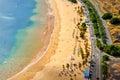 Aerial view of Playa de Las Teresitas near Santa Cruz de Tenerife. Sunny summer beach landscape top view. Royalty Free Stock Photo