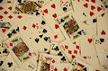 Aerial View of Playing Cards Thrown and Scattered on a Table Royalty Free Stock Photo