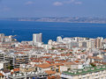 Aerial view Port of Marseille city , France Royalty Free Stock Photo