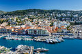 Aerial view on port of nice and luxury yachts french riviera france Royalty Free Stock Photo