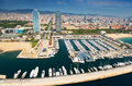 Aerial view of Port Olimpic. Barcelona Royalty Free Stock Photo