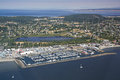 Aerial view of port townsend washington including the boat haven and kah tai lagoon nature park bay and admiralty Stock Images