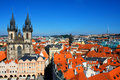 Aerial view of Prague from center of city. Prague, Czech Republi Royalty Free Stock Photo