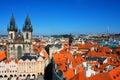 Aerial view of Prague from center of city. Prague, Czech Republi Royalty Free Stock Photo