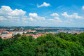 Aerial view on prague landscape of city center through the trees Stock Photo