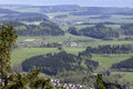 Aerial view presenting beautiful pattern of hills fields fores forests and villages poland Stock Photos