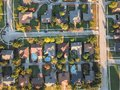 Aerial view residential subdivision with swimming pool and dead-end street near Dallas, Texas Royalty Free Stock Photo
