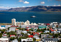 Aerial view of reykjavik capital of iceland from the top the hallgrimskirkja church Royalty Free Stock Photography