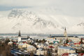 Aerial view of Reykjavik from Perlan, snow capped mountains in winter, Iceland Royalty Free Stock Photo