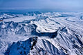 Aerial view of a river of ice flowing to the sea beautiful wind and snow sculpted landscape denali national park alaska Stock Images