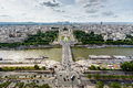 Aerial view on river seine and trocadero from the eiffel tower paris france Royalty Free Stock Photo