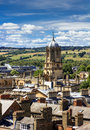 Aerial view of roofs and spires of oxford with green english countryside blue sky in background Royalty Free Stock Photography