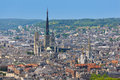 Aerial view on rouen the notre dame cathedral in in a summer evening Royalty Free Stock Photography