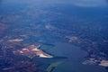 Aerial view of salt evaporation ponds bridge airports cities surrounding san francisco bay near san jose california united states Royalty Free Stock Images