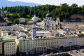 The aerial view of Salzburg City, Austria Royalty Free Stock Images