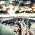 Aerial view of San Francisco-Oakland Bay Bridge from helicopter, Royalty Free Stock Photo