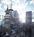 Aerial view of Sci Fi City with clouds and sun Royalty Free Stock Photo