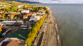 Aerial view on seashore resort area Royalty Free Stock Photo