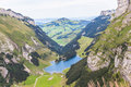 Aerial view of Seealpsee (lake) Royalty Free Stock Photo