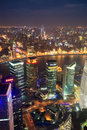 Aerial view of shanghai at night Royalty Free Stock Images