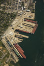Aerial view of shipyard Royalty Free Stock Photos