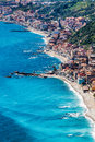Aerial view Sicily, Mediterranean Sea and coast. Taormina, Italy