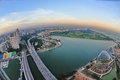 Aerial view of Singapore Marina Bay Stock Photography