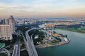 Aerial view of Singapore Marina Bay and Flyer Royalty Free Stock Photo