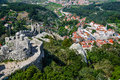 Aerial view of sintra city portugal arabs built the castelo dos mouros in the th century near only four square towers the Royalty Free Stock Image