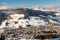 Aerial view on ski resort megeve in french alps france Stock Photography
