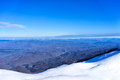 Aerial view of snowed mountain falakro in greece Royalty Free Stock Photography