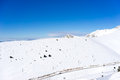 Aerial view of snowed mountain falakro in greece Stock Image