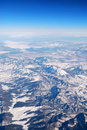 Aerial View of Snowy  Mountain Royalty Free Stock Photo