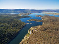 Aerial view of Snowy River flowing into Lake Jindabyne, New Sout Royalty Free Stock Photo