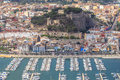 Aerial view of the Spanish Denia castle and port Royalty Free Stock Photo