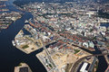 Aerial view of Speicherstadt and Hafencity districts at Hamburg Royalty Free Stock Photo