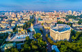 Aerial view of St. Michael Golden-Domed Monastery, Ministry of Foreign Affairs and Saint Sophia Cathedral in Kiev Royalty Free Stock Photo