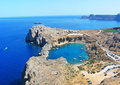 Aerial view on St. Paul's bay in Lindos Royalty Free Stock Images