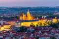 Aerial view of St. Vitus Cathedral and Prague Castle (Hradcany) at night Royalty Free Stock Photo
