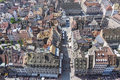 Aerial view of Strasbourg old town, Alsace, France Royalty Free Stock Photo