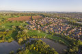 Aerial View of SuburbanTown Stock Photo