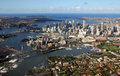 Aerial view of sydney australia – april harbour looking east across darling harbour and the city toward the ocean Stock Images