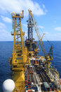 Aerial view of tender drilling oil rig barge oil rig on the production platform Royalty Free Stock Photos