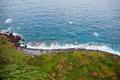 Aerial view of terrace fields and huts on the Northern Atlantic ocean coast of Madeira, Portugal Royalty Free Stock Photo