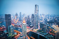 Aerial view of tianjin in nightfall financial district china Stock Photo