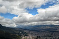 Aerial view to Bogota city and surrounding hills from Monserrate Royalty Free Stock Photo
