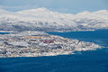 Aerial view to the city of Tromso from the Fjellheisen mountain in Tromso, Norway. Royalty Free Stock Photo