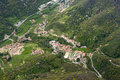 Aerial view of Torre de Busi village, Orobie